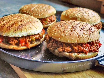 Бургер «Неряха Джо» на гриле (видео)