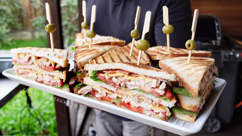Клаб сэндвич с курицей на гриле (видео)